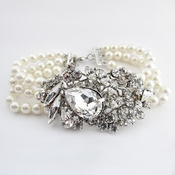 Antique Silver Ivory Bracelet 9885