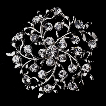 * Antique Silver Leaves with Rhinestones Brooch 155