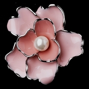Antique Silver Pink Flower with White Pearl Brooch 146