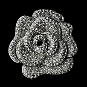 * Antique Silver Rhinestone Rose Flower Brooch 113