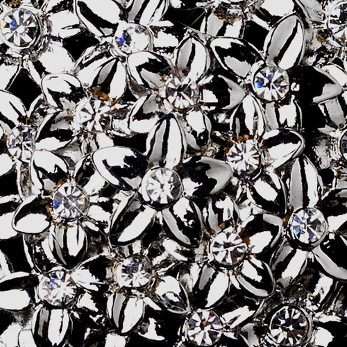 * Antique Silver Rhinestone Flower Brooch 152