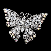 Antique Silver Rhodium Clear AB Rhinestone Accent Butterfly Brooch 73