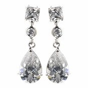 Antique Silver Rhodium Clear CZ Crystal Drop Earrings 1414