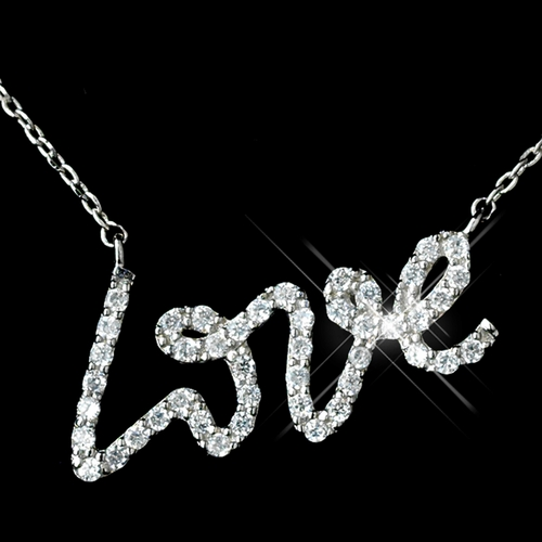 "Antique Silver Rhodium CZ Crystal ""Love"" Pendent Necklace 1591"
