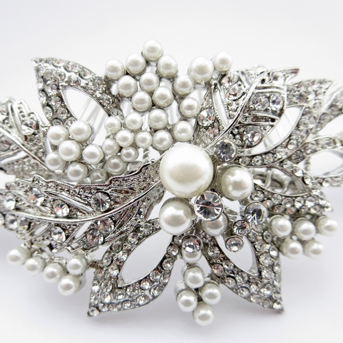 bridal headpiece vintage style with crystals and pearls