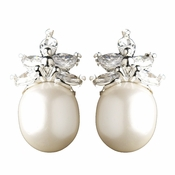 Antique Silver Rhodium Freshwater Pearl & CZ Crystal Earrings 1417