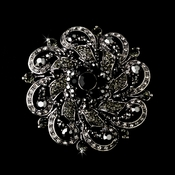 Antique Silver w/ Black Rhinestones Flower Brooch 79