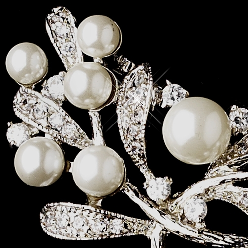 * Antique Silver  White Pearl & Cubic Zirconia Vine Bouquet Brooch 2512