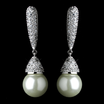 Antique Silver White Pearl & CZ Crystal Pave Earrings 2797