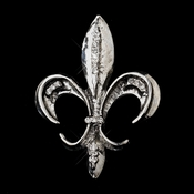 * Antique Silver with Rhinestone Accents Fleur De Lis Brooch 215