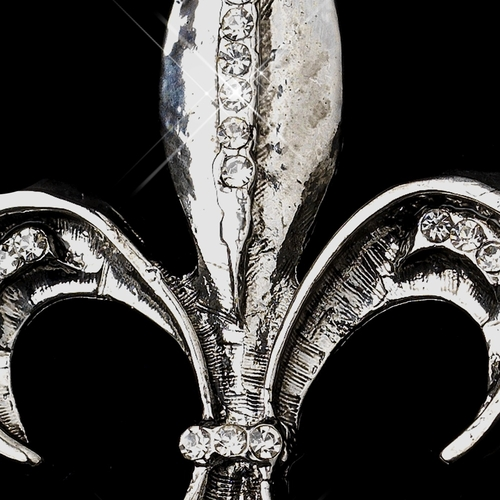 * Antique Silver with Rhinestone Accents Fleur De Lis Brooch 215** 0 Left****