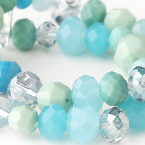 Aqua, Mint & Turquoise Faceted Glass Stretch Bracelet 9507