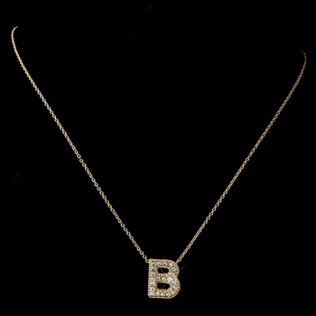 B clear rhinestone letter initial pendant necklace 1 item n 1 b m mozeypictures Image collections