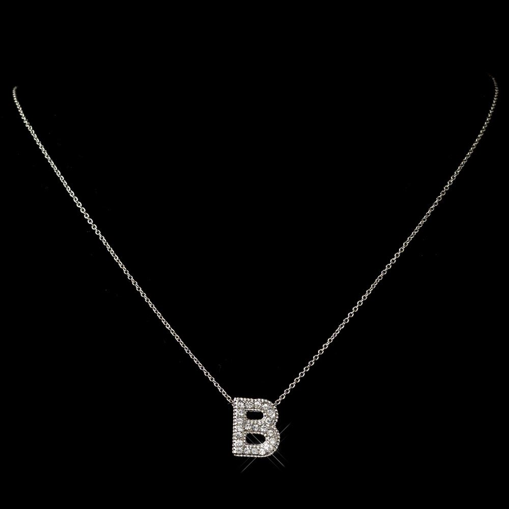 B clear rhinestone letter initial pendant necklace 1 b clear rhinestone letter initial pendant necklace 1 mozeypictures Choice Image