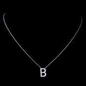 """B"" Sterling Silver CZ Crystal Initial Necklace"