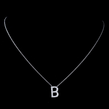 """""""B"""" Sterling Silver CZ Crystal Initial Necklace"""