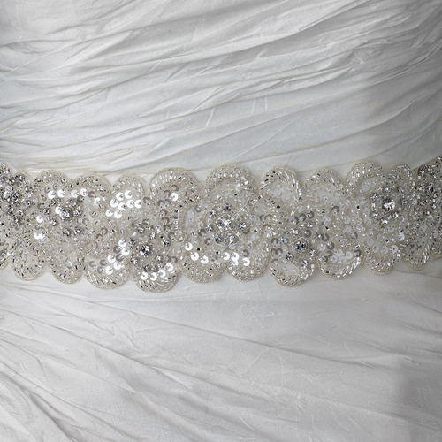 Sheer Diamond White Beaded Sequin Rhinestone Bridal Belt 294