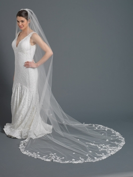 Beautiful emboidered floral lace cathedral wedding veil with rhinestone accent