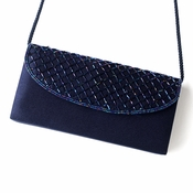 * Beautiful Navy Satin Beaded Evening Bag 213 *Navy and Black Available*
