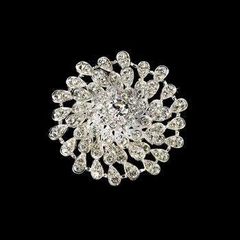 Beautiful Round Silver Rhinestone Bridal Brooch 3171
