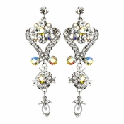 Beautiful Silver Clear AB Chandeleir Crystal Earrings 1031