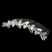 * Beautiful Silver Clear Rhinestone & Swarovski Crystal Flower Bridal Comb 8311