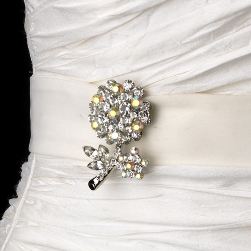 Belt with Antique Silver AB Rhinestones Flower Brooch 96