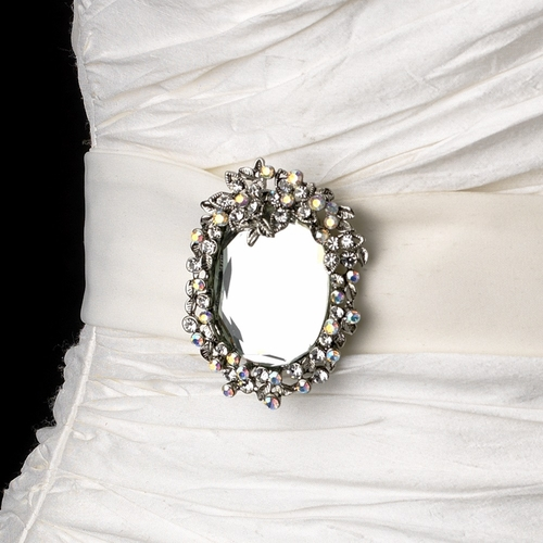 Belt with Antique Silver Clear AB Vintage Mirror Brooch 103
