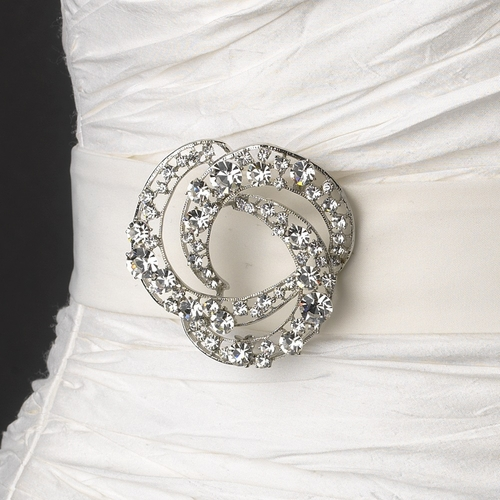 Belt with Antique Silver Clear Brooch 20