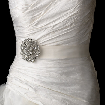 Belt with Antique Silver Clear Crystal Floral Brooch 53