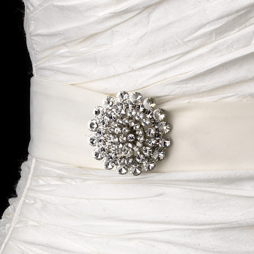 Belt with Antique Silver Clear Crystal Floral Brooch 59