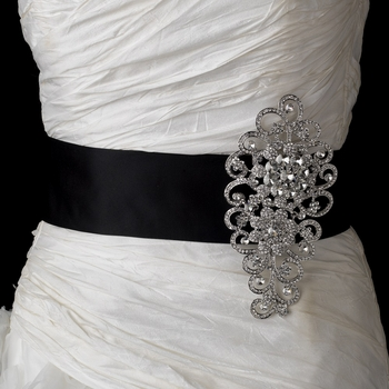 Belt with Antique Silver Clear Floral Rhinestone Brooch 404