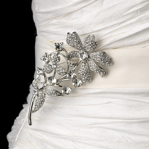Belt with Antique Silver Rhinestone Vintage Flower Brooch 85