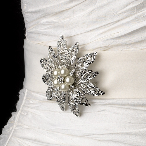 Belt with Antique Silver Vintage Floral Crystal & Pearl Brooch 38
