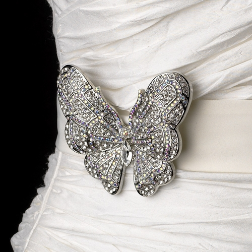 Belt with Silver Clear AB Marquise Crystal Butterfly Brooch 7444