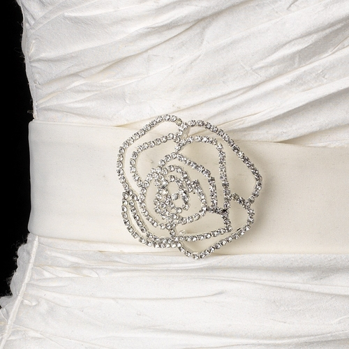 Belt with Silver Clear Crystal Flower Brooch 6025