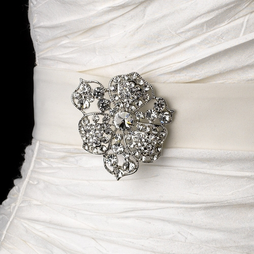 Belt with Silver Clear Crystal Flower Brooch 62