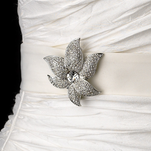 Belt with Silver Clear Crystal Flower Brooch 67