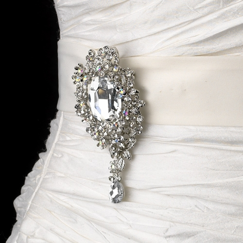 Belt with Silver Clear Crystal Leaf Brooch 81