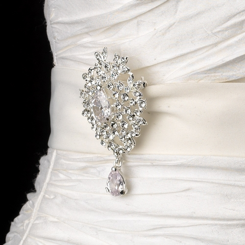 Belt with Silver Clear Dangle Pear Brooch 3438