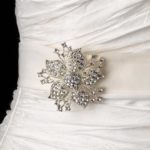 Belt with Silver Clear Floral Starfish Brooch 3175