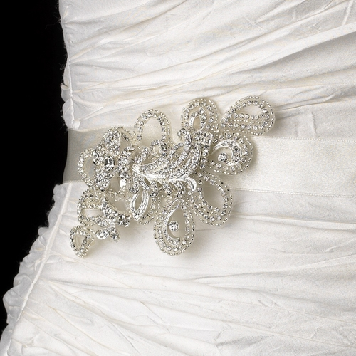 Belt with Silver Clear Floral Swirl Crystal Brooch 43