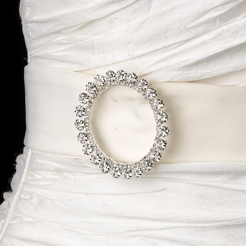 Belt with Silver Clear Round Brooch 30251