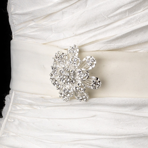 Belt with Silver Clear Floral Cluster Brooch 3167