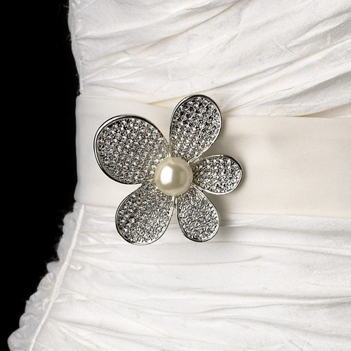 Belt with Silver Ivory Pearl & Rhinestone Flower Brooch 66