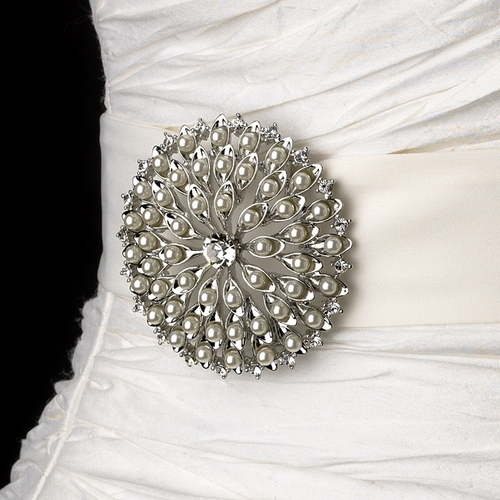 Belt with Silver Ivory Pearl Round Sunburst Brooch 65