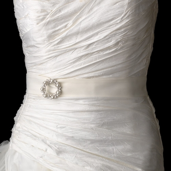 Belt with Silver White Pearl & CZ Crystal Wreathe Brooch 2502