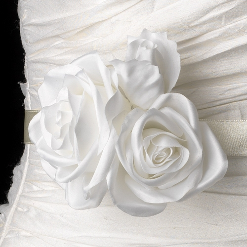 Belt with Triple Garden Rose Flower Clip 412 (White or Ivory)