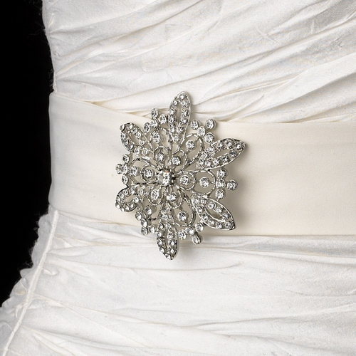 Belt with Vintage Crystal Snowflake Brooch 36
