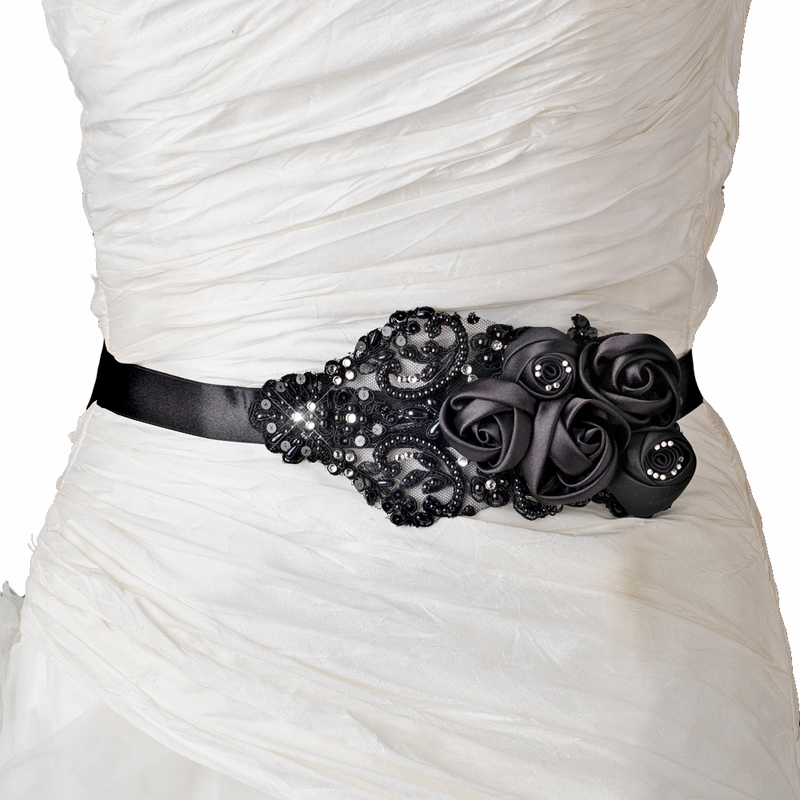 Black Floral Bead Amp Sequin Sash Belt 1